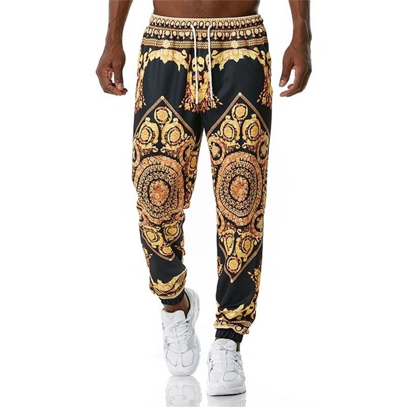Luxury Royal Joggers Sweypant 3D Floral Imprimir Pantalones Jogging Hombres Casual Hip Hop Streetwear Sports Pantalones Masculino XXL Y201123