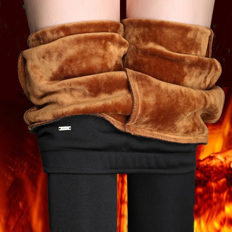 Svokor Lady повседневная зимняя бархатная теплая высокая талия брюки женские снежные горячие леггинсы плюс размер s ~ 4xl