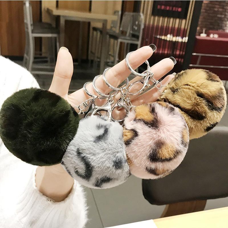 ليوبارد الحب رقيق الكرة سلسلة المفاتيح قلادة لطيف pompom الفراء الكرة طالب حقيبة مفتاح سلسلة الهدايا الإبداعية للنساء الفتيات