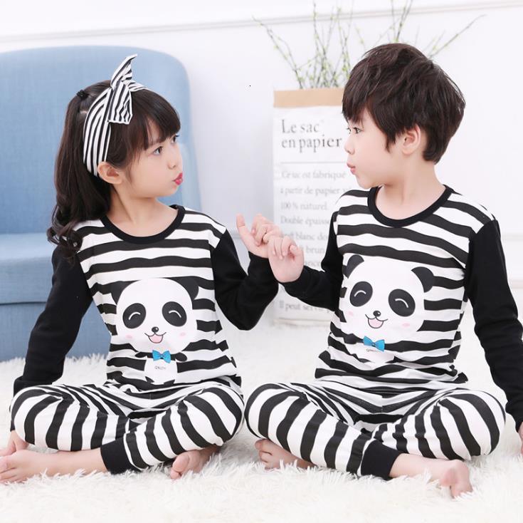 Мальчики Девушки Одежда Хлопок осень Pajamas наборы Pajamas Детская домашняя одежда из хлопка ночная одежда одежда Pijamas костюм 4 6 8 10 12 14 1412WQ