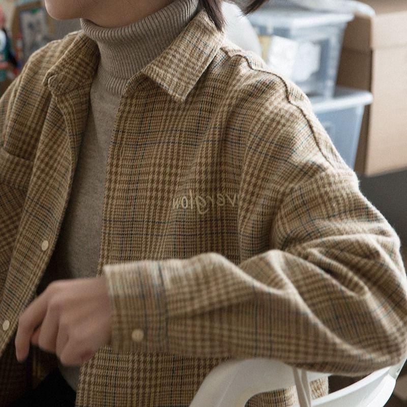 Couches pour hommes Blazers Chemise à carreaux de laine Femme Automne Hiver 2021 Points à manches longues et polyvalentes épaisses