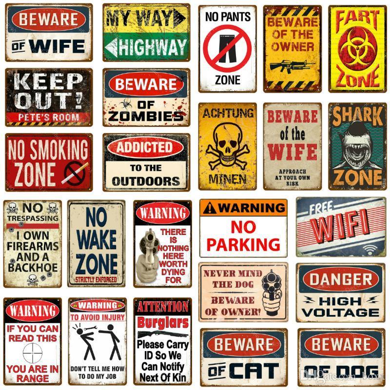 2021 WANING ZONE DE SHARK ZONE MURAL AVERTISSEMENT DANGER AVERTISSEMENT DANGER SANS STRUPASSING POISSON Signes Metal Signes Beware of Wife Cat Dog Vintage Posters d'extérieur Plaque d'art