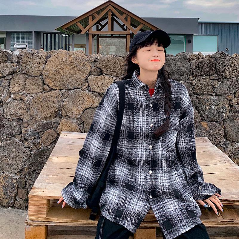 Camisa a cuadros de manga larga engrosada Mujeres Otoño e invierno Camisa de manga larga casual Blusa suelta