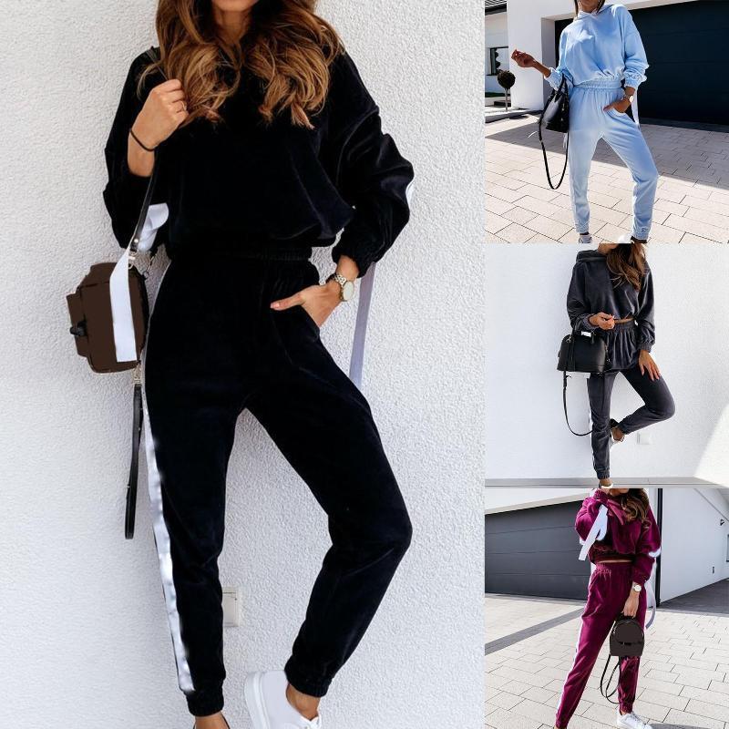 Womens Trainingsanzug Herbst 2 stücke Sweatshirt Langarm Samt Hoodie Crop Top Hosen Sport Trainingsanzug Outfit Set