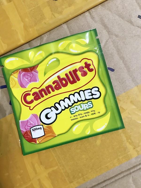 CannAvst Gummies Sours Mylar Çanta 500mg Yemekleri Boş Fermuar Kılıfı Perakende Depolama Ambalaj Kuru Herb Tütün Çiçek