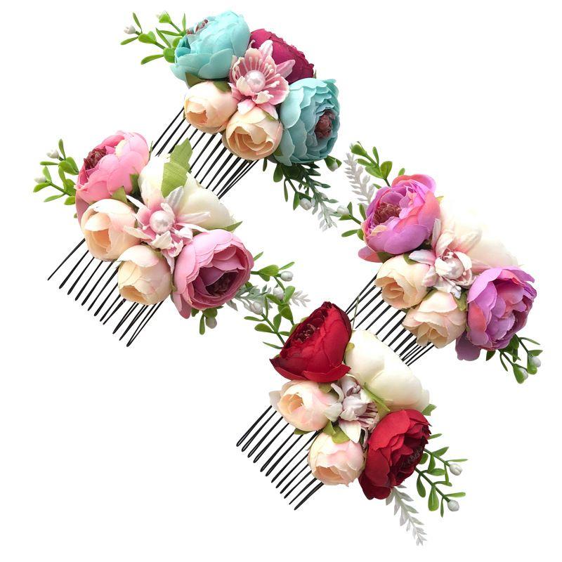 Kızlar Çiçek Saç Pençeleri Kıllar Tarak Hairband Çocuk Yapay Çiçek Kafa Kız Saç Süs Headdress Parti Saç Aksesuarları 351 G2