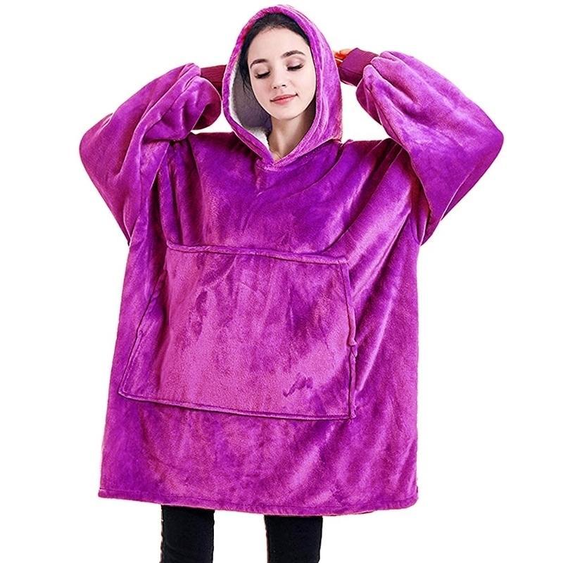 Couverture chaude hivernale avec manches surdimensionnées 6 couleurs 850grams en peluche sweat à capuche en peluche couverture portable en plein air 201209