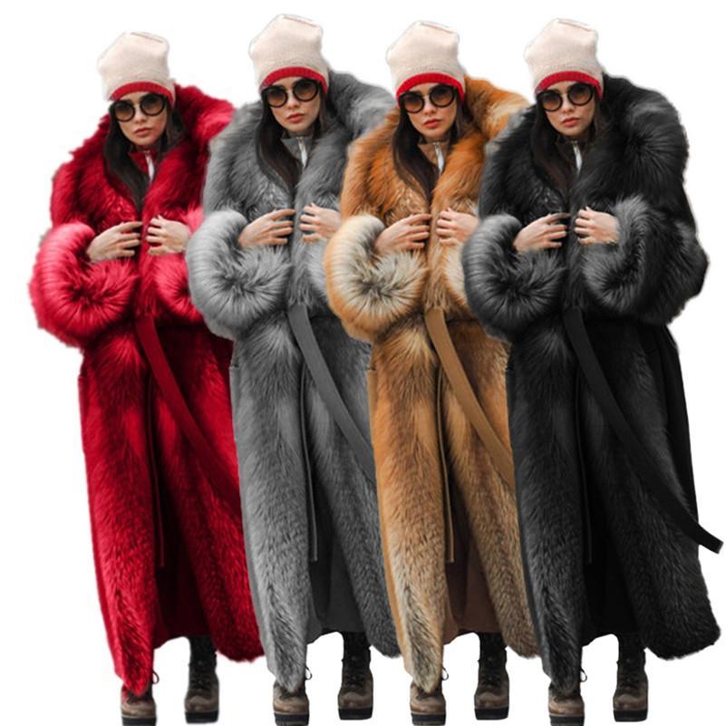 Women Faux Fur Coat Winter High Quality Thick Women Overcoat Warm Plus Size Plush Furry Female Jacket Coat Outerwear klw5750