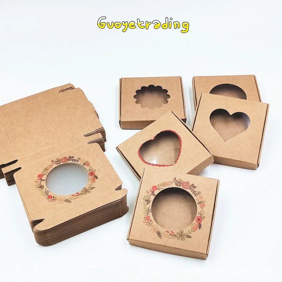 Pakoopie emballage boîte accessoires de cheveux bijoux petits cadeaux boîtes cadeaux kraft papier boucles d'oreilles colliers stockages opençables des motifs ou des tailles vénigieuses préimprimées