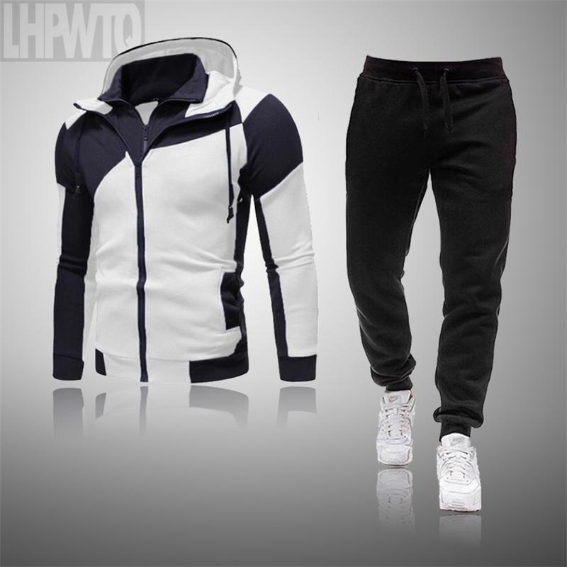 İki Adet Set Eşofman erkek Hoodie Setleri Spor Kalın Hoodie + Pantolon Spor Suits Rahat Kazak ve Sweatpants 201204