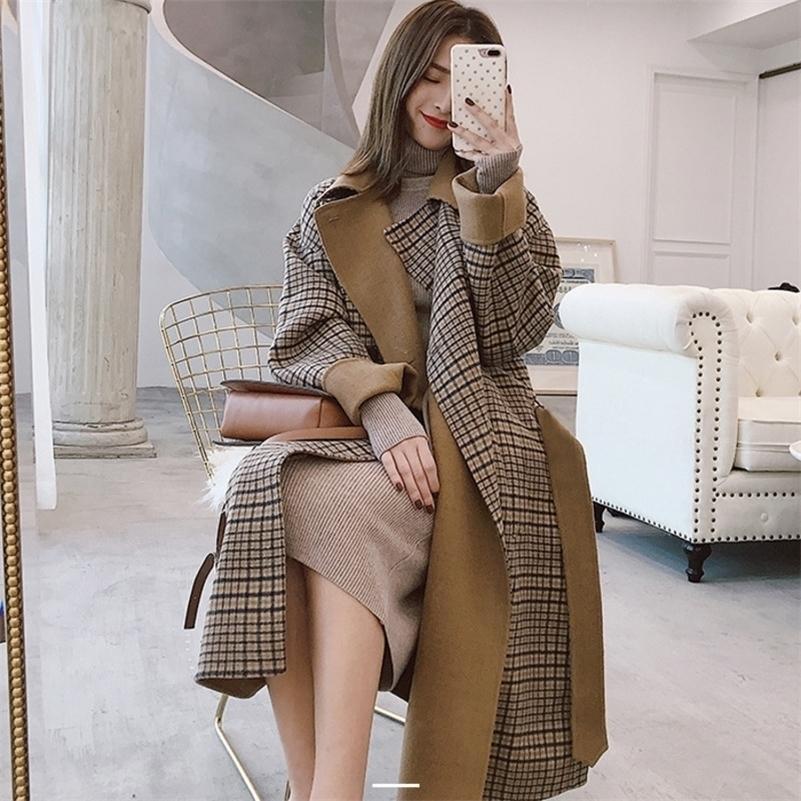 [EWQ] Двухбордовые длинные рукава плед досуг негабаритные современные леди тонкие шерстяные пальто Корея хаки пальто женщина зима ql065 201222