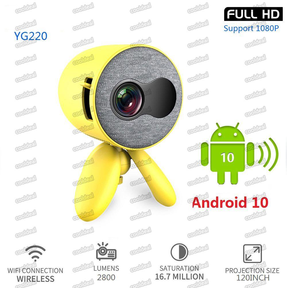 YG220 LED Mini projecteur 480 * 272 pixels Projecteur 4K 1080P Full HD Android 10 TV Boîte de télévision WiFi Projecteur Support YouTube Netflix gratuit DHL