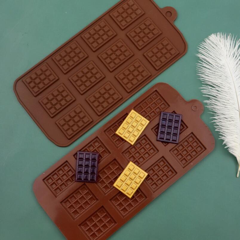Moldes de waffle de silicona de grado alimenticio con 12 caries de chocolate con hielo de chocolate de chocolate de chocolate de chocolate Herramientas de la herramienta de la cocina Moldes de la cocina Herramientas