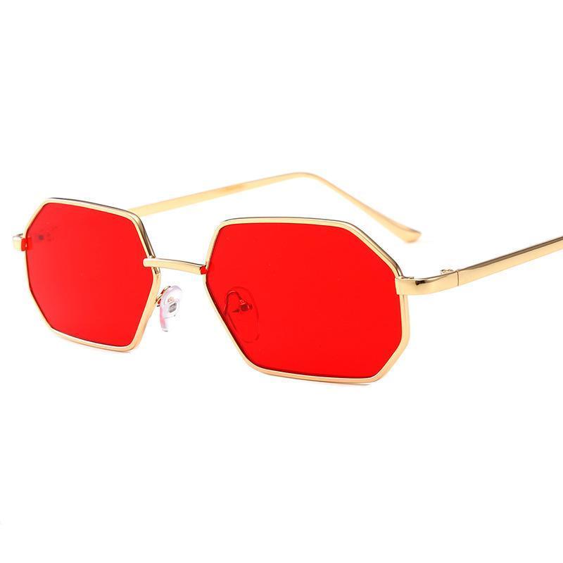 Óculos de sol pequenos octógono mulheres 2021 senhoras fashion shade designer de marca quadrado quadro de metal vermelho hip hop fml