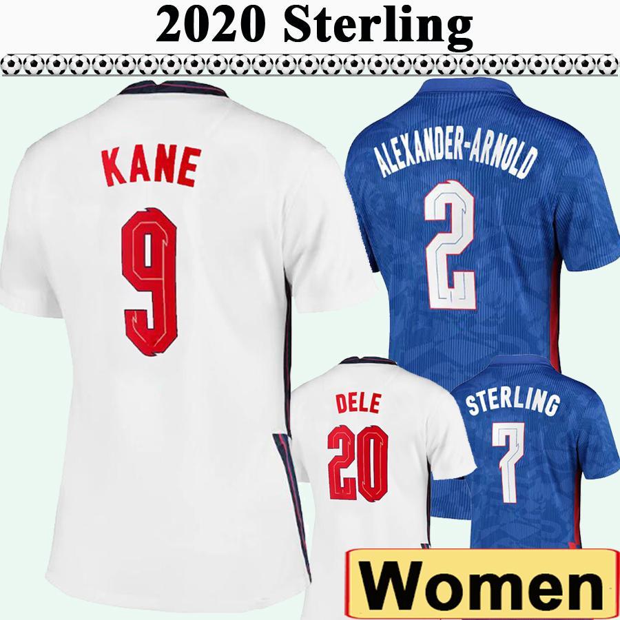 2020 Kane Rashford Femmes Soccer Jerseys Sterling Gomez Maddison Accueil Chemise de football Sterling Dele Lady Sleeve Uniforms