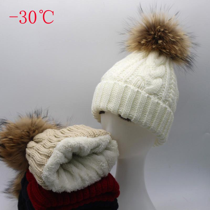 Frauen Hut Warme Samtvlies innen Mütze Winter Hüte für Frauen Echt Pelz Pompom Hut Elternteil Twist Gestrickte Mädchen Mütze