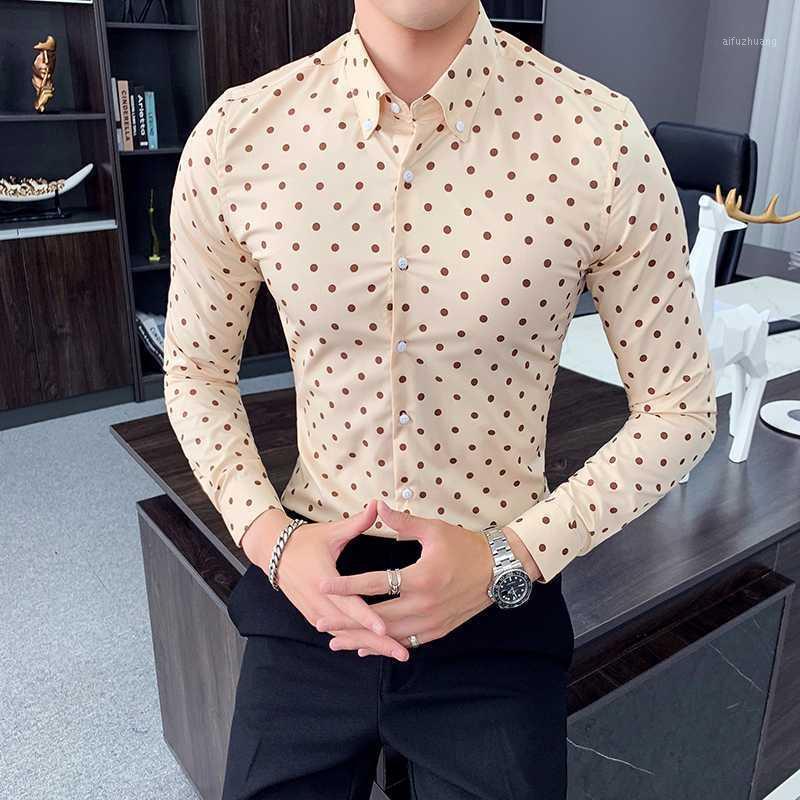 Bolinhas casuais homens camisa magro fit modura manga comprida vestido de negócio camisas de alta qualidade camisa social formal camisa masculina1