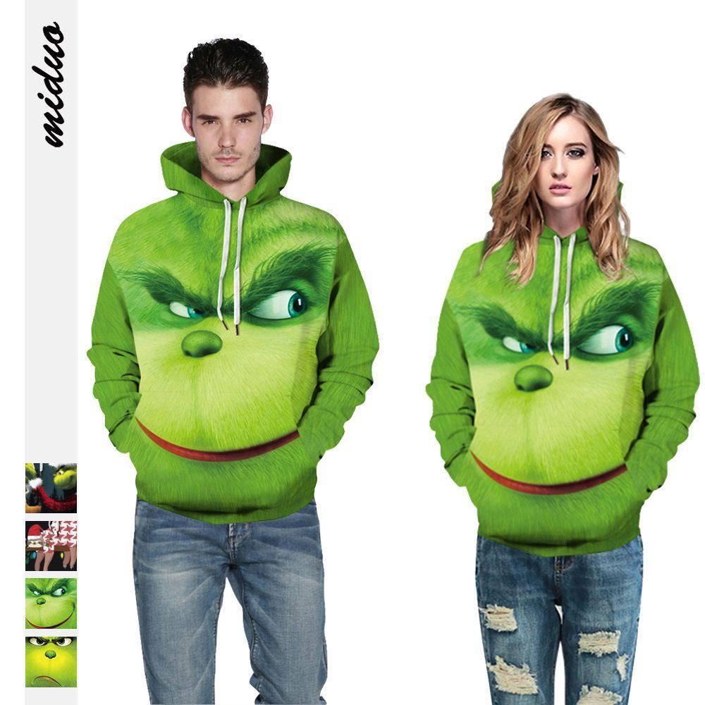 4Colour S-5XL 스웨터 풀 오버 새로운 녹색 머리 괴물 Grinch 디지털 인쇄 여성의 후드 스웨터 캐주얼 커플 탑 38605171210465