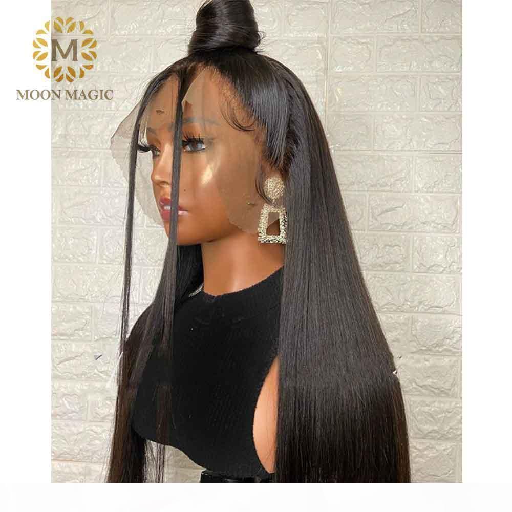 360 Lace Wig Preplucked 180 Densità pizzo parrucca anteriore diritta frontale del Virgin del brasiliano dei capelli del bambino dei capelli del Ponytail dei capelli umani lunga parrucca