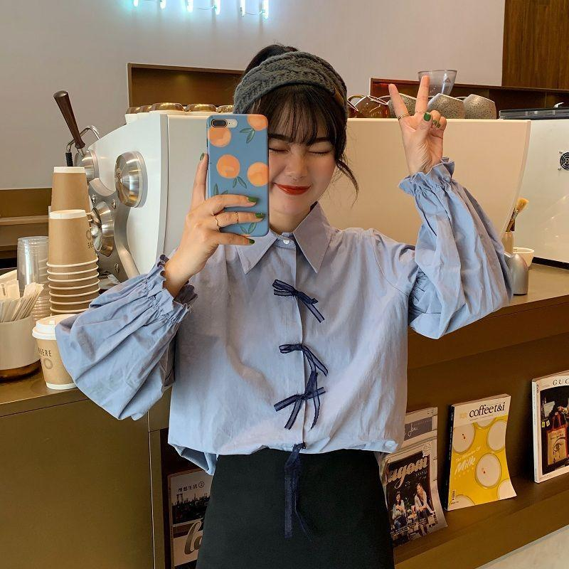Blusas de las mujeres Camisas Mujeres 2021 Otoño Invierno Moda Casual Chic Outwear Top Femenino Vintage Blusa Oficina Botón Lady Botón suelto B3