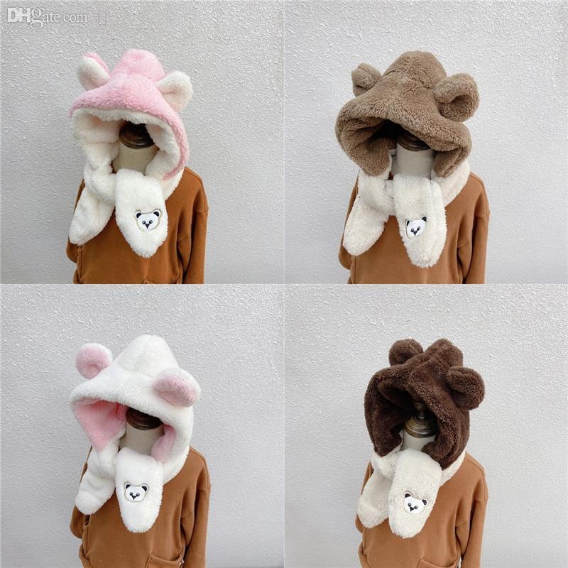 DHVJQ Seda Oso Bordado Bordado Protección de Oreja Tapa Bufanda de invierno. Ropa de bufanda de moda de mujer de alta calidad Mantenga el sombrero de los niños cálidos
