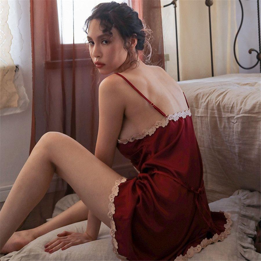 Seideartige Spitze Hosenträger Sexy WomenHome Sling Pyjamas Spitze Pyjamas Interieur Fabrik Produkte # 243
