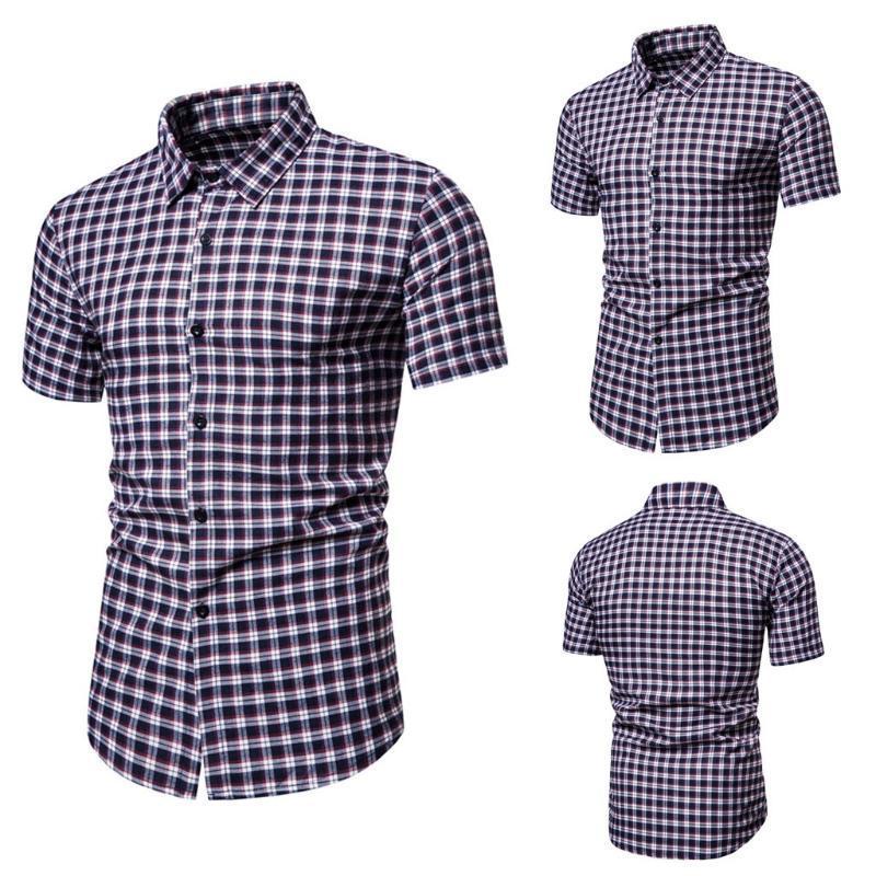 Camicie casual da uomo KLV Plaid Plaid Stampato Splicing Single Bresed Short Reding Shirt Shirt a maniche regolari Button Risvolto Biancheria per uomo Summer Turn Down Colla