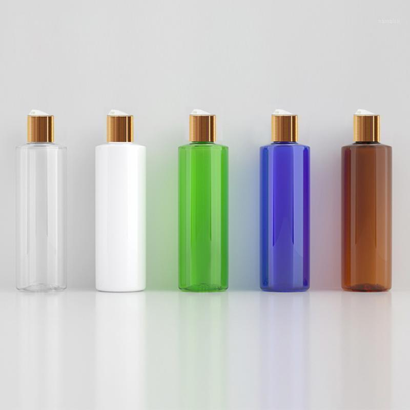 24pcs 250ml branco claro marrom vazio frasco de xampu vazio com disco de ouro tampa superior, creme / óleo essencial gel gel garrafa de viagem1