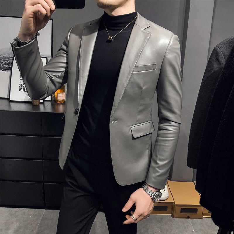 Giacca in pelle di autunno Giacca in pelle Blazer Hombre Single Suit Mens 2021 Blazer elegante Chaqueta Hombre Hombre Slim Fit Giacca