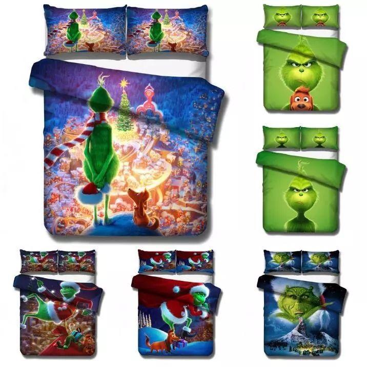Dibujos animados Verde Monster Grinch Conjunto de ropa de cama Edredón Cubierta de edredón Cubierta de edredón Ropa de cama Ropa de cama Ropa de cama Twin Full Reina King Tamaño