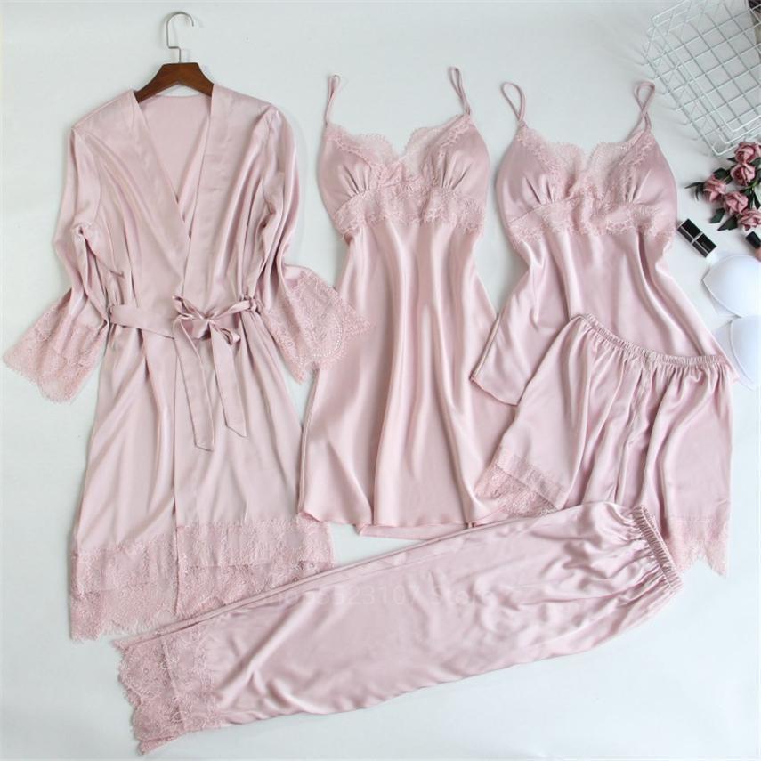 2020 Yeni Bayan İpek Saten Pijama Setleri Kayış Pijama Polyester Kadın Dantel Salonu Pijama Göğüs Pedleri Ile Ev Giymek Pijama Set W1225