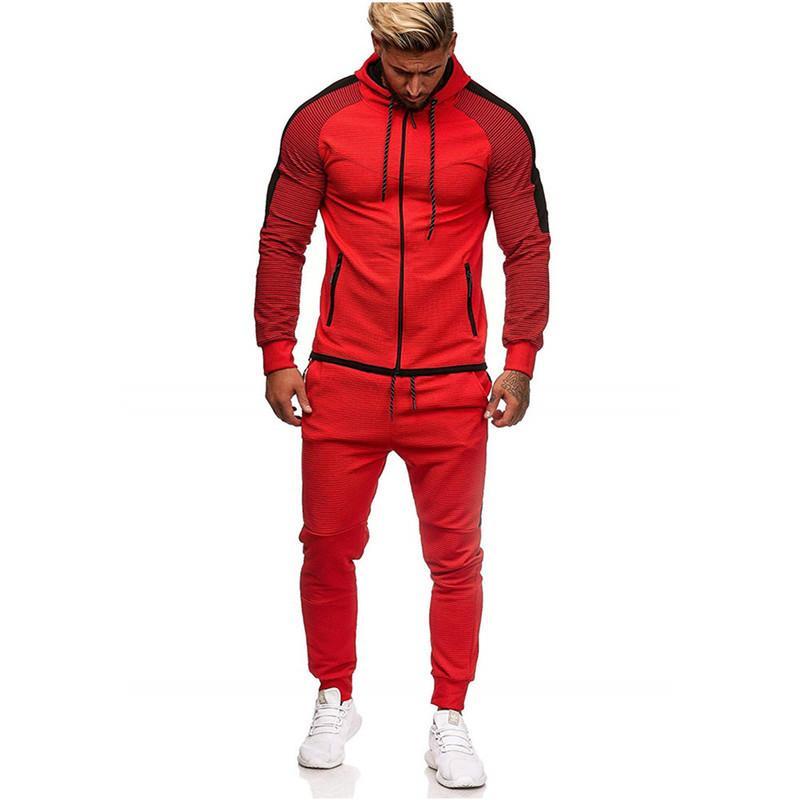 Nova listra masculina grande Splicing terno de lazer sportswear para homens no outono / inverno 2019
