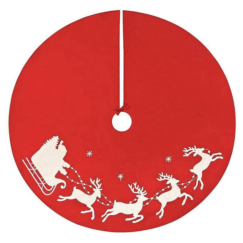 1 pz Gonna albero di Natale Santa Claus Elk Xmas Tree Gonne Tappeto Xmas per la decorazione delle vacanze