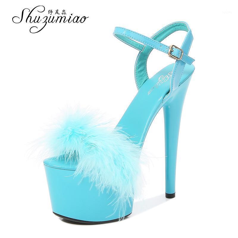 Kadın Ayakkabı 2021 Yeni Yaz Kürk Sandalet Stripers Topuklu Platformu 13 15 17 20 cm Yüksek Topuklu Seksi Bayanlar Sandalet Düğün Ayakkabı1