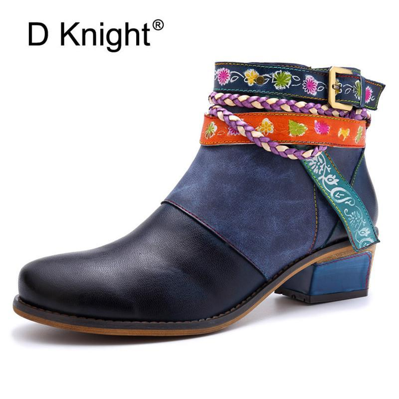 Botas D Knight inverno botas vintage mulheres de couro genuíno sapatos de salto alto redondo sapato sapato moda senhoras tornozes para