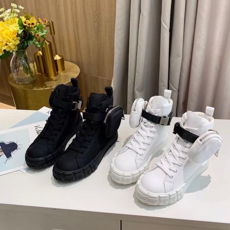 Men Sneakers Wheel Re-Nylon Women High-top Sneakers Combat Boots with Bag Platform Lace-up Casual Shoes Top Quality with Box 260