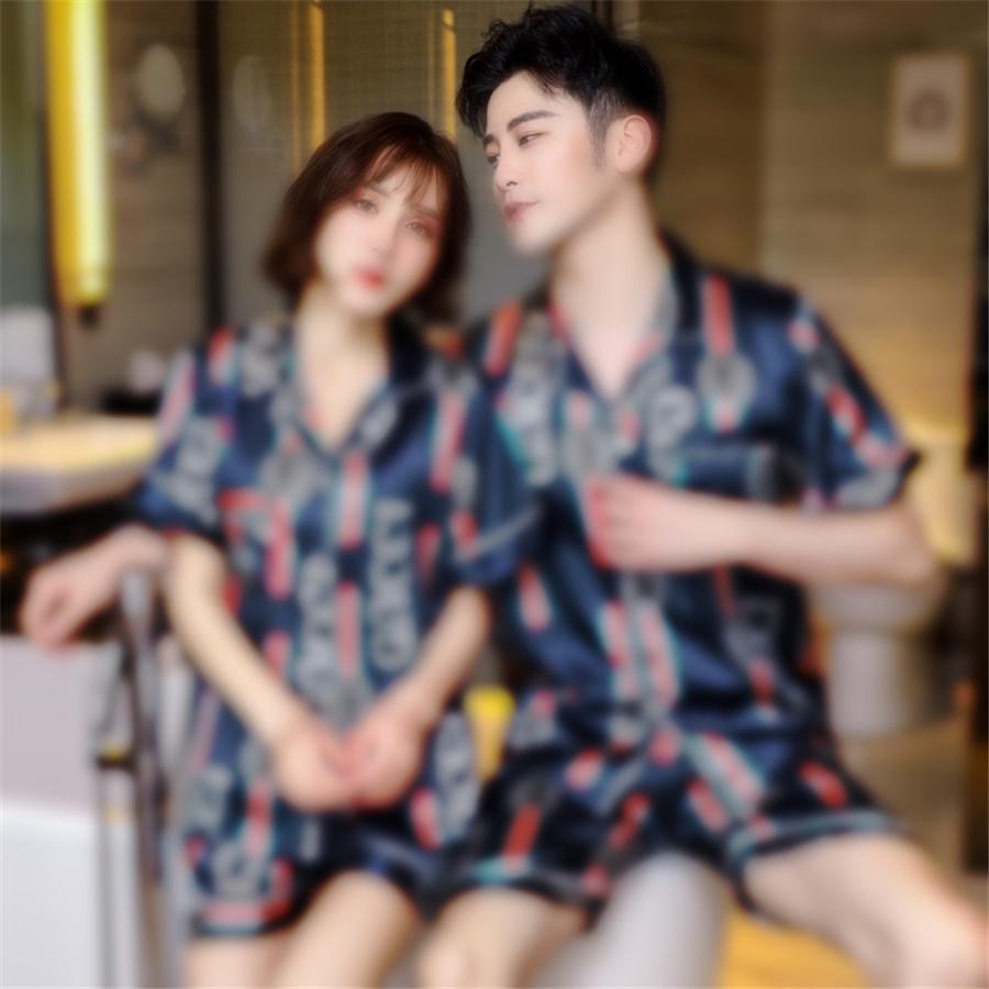 Краска пижамы красочные свободные с короткими рукавами кружева шорты мода пижамы набор женщин летняя галстука # 29711111