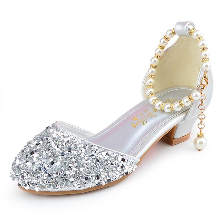 Neue Kinder Prinzessin Pearl Perlen Sandalen Kinder Hochzeit Prom Formale Schuhe High Heels Kleid Schuhe Party Schuhe für Mädchen 382