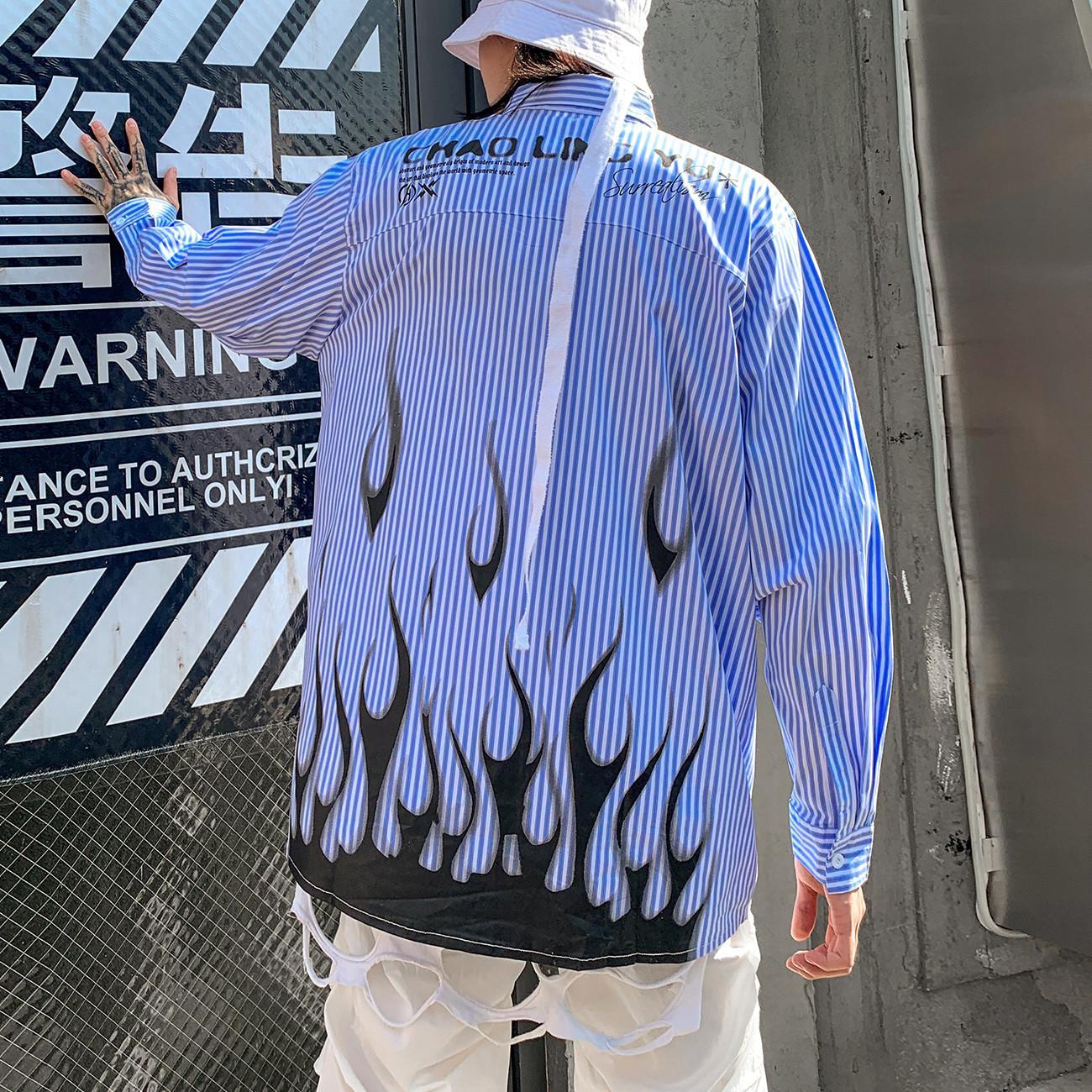 2021 Новый полосатый огонь пламени Печать с длинным рукавом Мужская осень Harajuku рубашка хип-хоп уличныйверар цвет блокировки хлопковые свободные рубашки топы Yu51