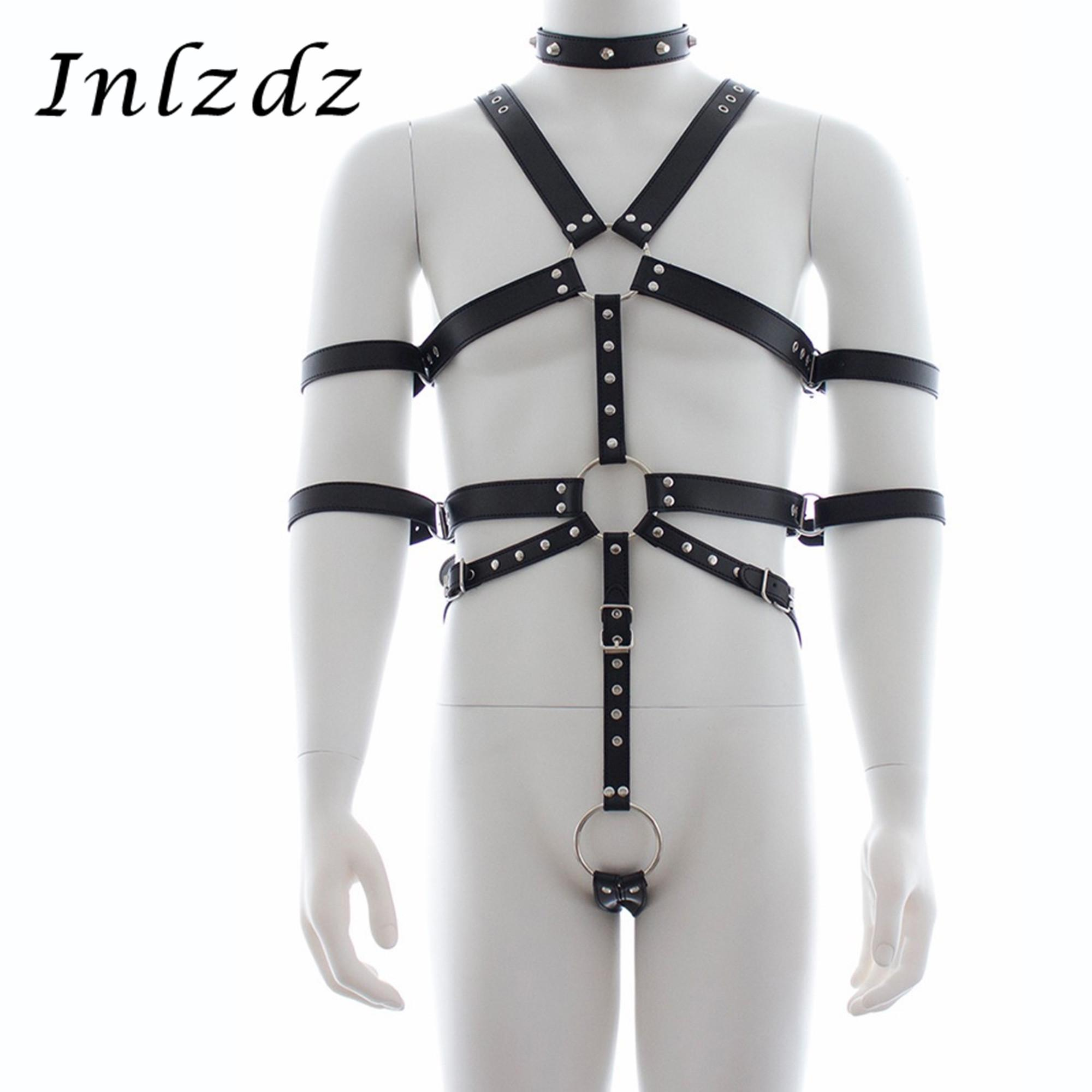 Mens Pu Leather Sexy Restraint Set Gay Chest Harness Awaist Straps Lingerie Sex Costume Full Bodysuit