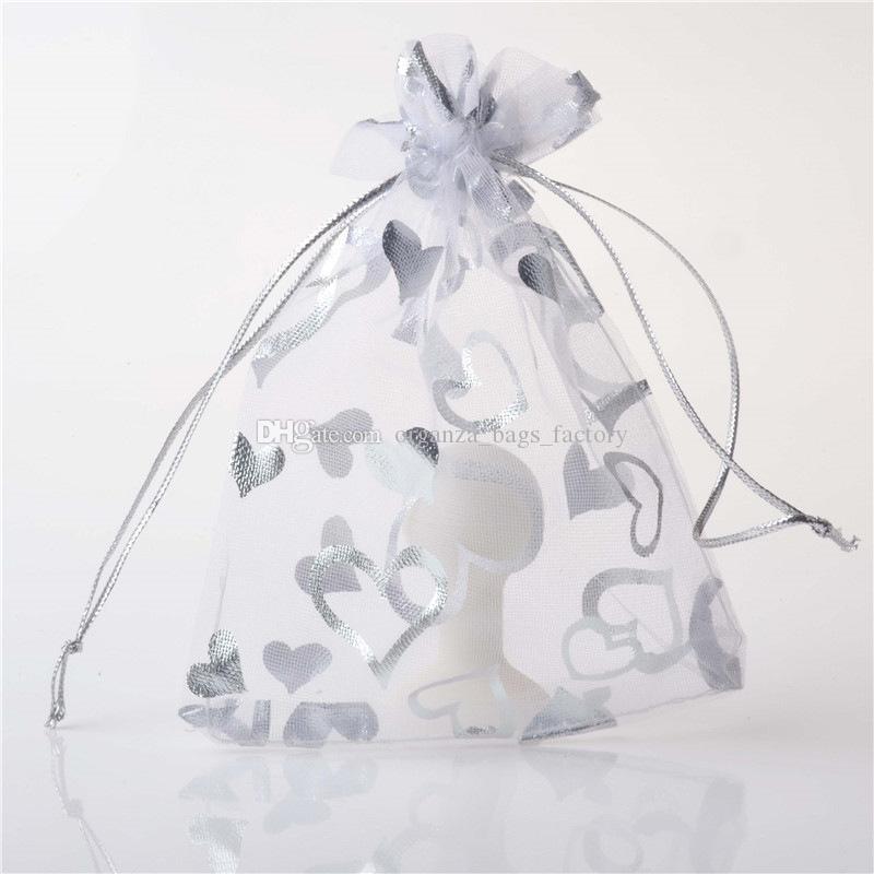 500 pçs / lote 7x9cm 17x23cm prata branco coração organza festa de casamento festa decoração presente sacos bolsas