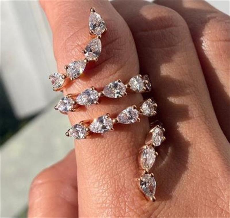 Luxury Jewelry 925 Sterling Silver&amp Rose Gold Fill Pear Cut White Topaz CZ Diamond Gemstones Women Wedding Open Adjustable 80 L2
