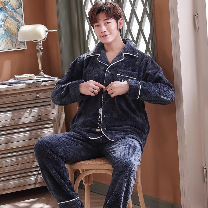 Зимняя толстая мужская мужская фланель Pajamas кардиган отворот молодой и среднего возраста большой размер свободный теплый домашний сервис двухсекционный костюм