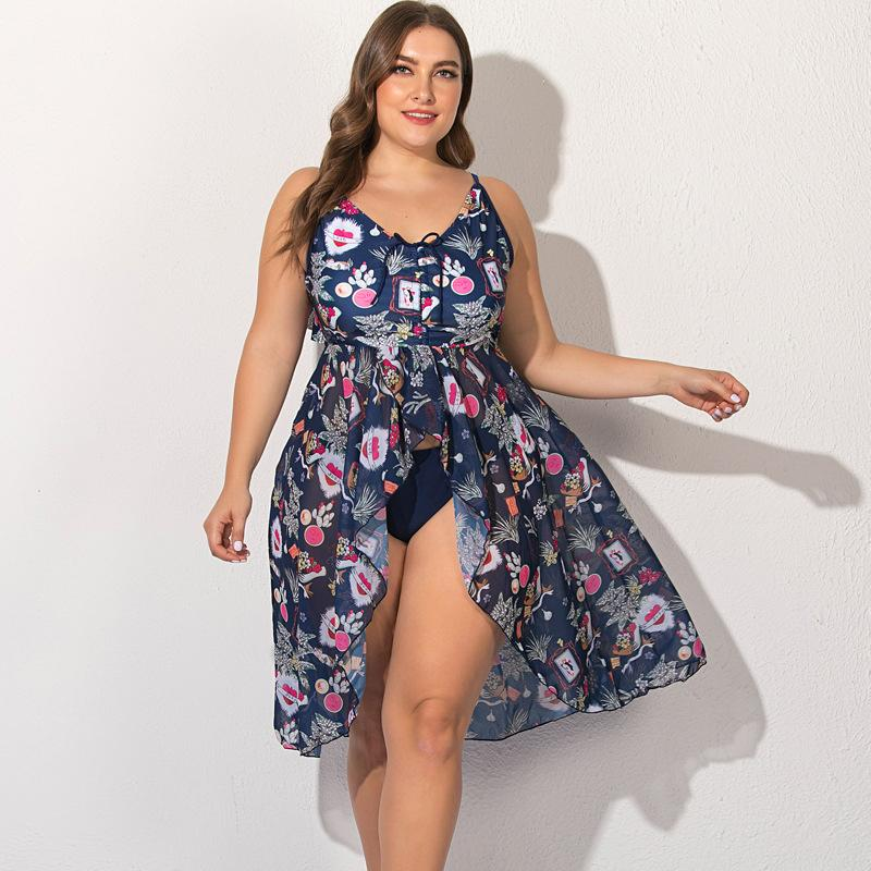 2021 Nuovo Plus Size 5xL Swimsuit Swimsuit Tankini Casù da bagno Tankini Donne Vita Alta Bikini Sexy Bikini Push up Body Dress Stampa Hot Bodysuits imbottiti