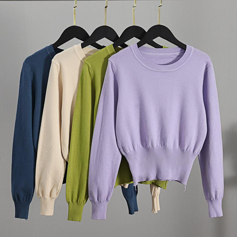 GIGOGOU Fall 2020 Crop Sweater Knitted Kawaii Cute Sweaters Long Sleeve Yellow Pink Women Winter Clothes Female Pullover Jumper C1120