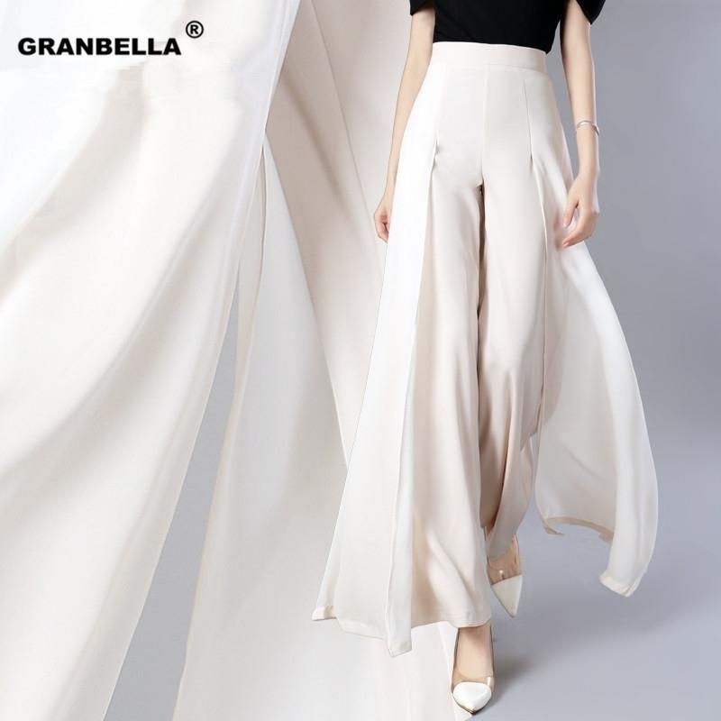 Элегантные женщины лето широкие брюки ноги эластичные высокие талии сплит шифоновые брюки повседневная уличная одежда мода женский Palazzo PA003 Y200418
