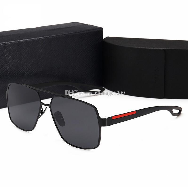 2021 남자 복고풍 편광 된 Luxurys Mens 디자이너 선글라스 무두질 된 금 도금 사각형 프레임 브랜드 태양 안경 패션 안경 상자