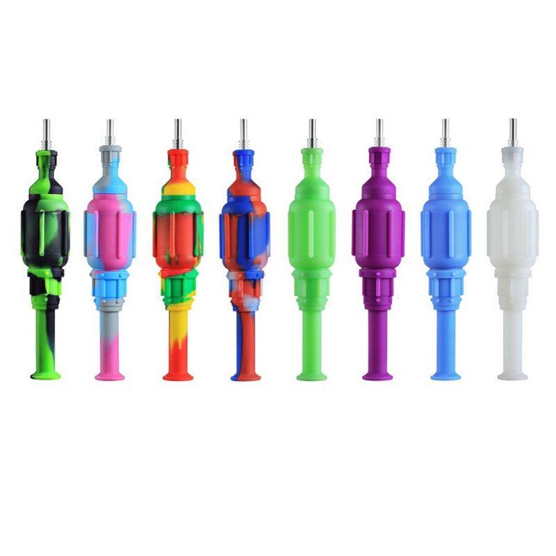 Silikon Sigara Boru Titanyum Tırnak Torbası ile 20 cm Renkli El Karışık Renk Silikon Duman Borular Yağ Burner DAB Aracı Aksesuarları