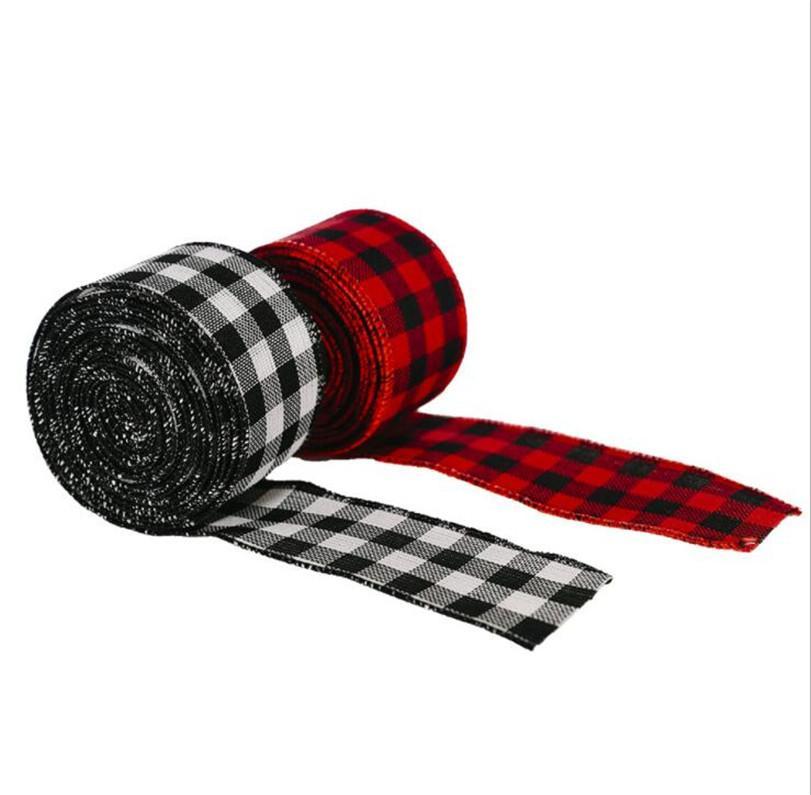6 metros Navidad Adorno Cintas Negro Rojo Búfalo Plaid Ribbon Boda Navidad DIY Regalo Paño Envoltura Caída Artesanía Decoración Venta LY12042