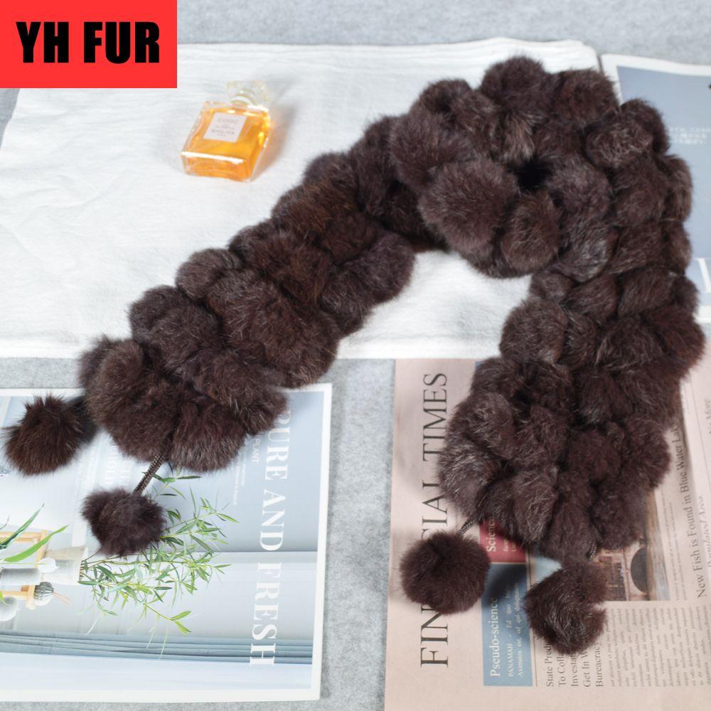 Donne inverno caldo Real Coniglio Sciarpa di pelliccia di coniglio Vendita calda Vendita di coniglio naturale 2020 Lady 100% Genuine Pelliccia di pelliccia Scarv Wholale Retail